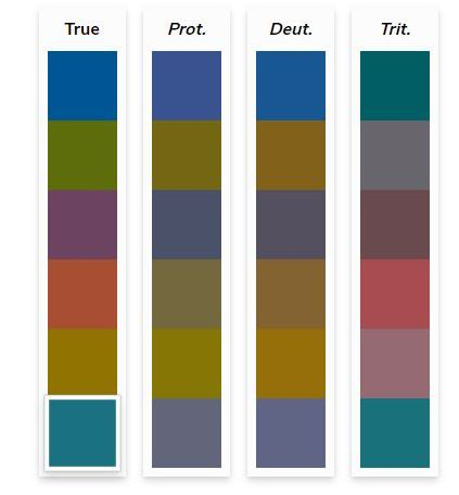 Four colour palettes side by side, the true colour palette for a website and how that colour palette is perceived by individuals with three classes of colour deficits