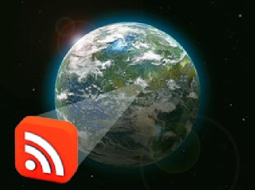 Earth emanating an RSS icon