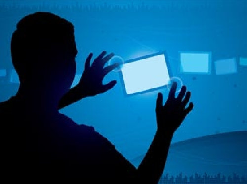 Image of a man's silhouette touching a stylised mobile screen