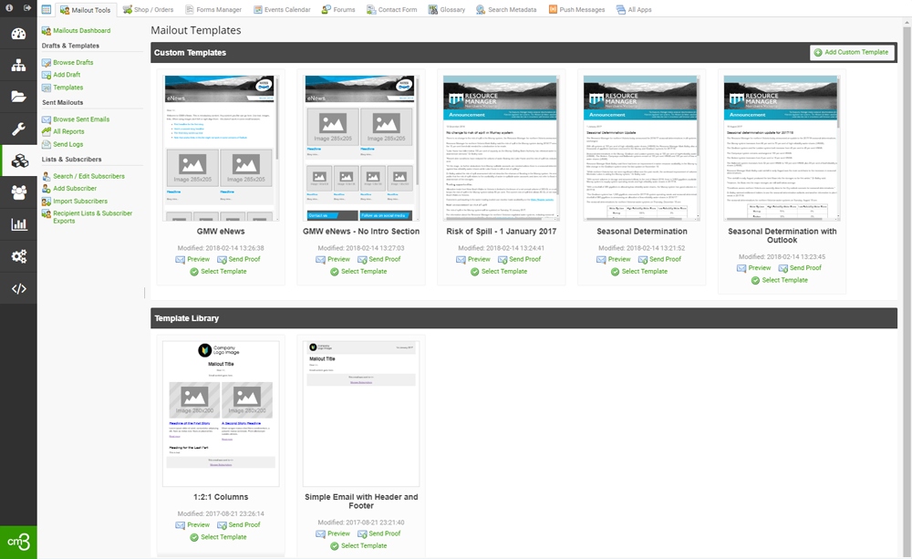 The email template selection screen in cm3 Acora CMS's powerful email direct marketing module.