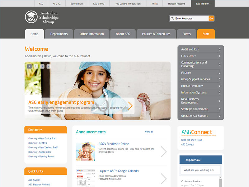 Australian Scholarships Group intranet home page