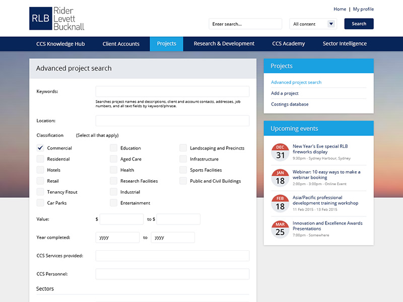 Advanced project search form within the CCS Knowledge Hub