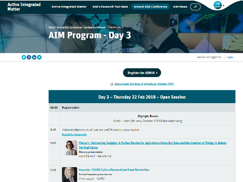 The conference program schedule is built with cm3 Acora CMS's visual tools, and automatically presented in responsive web templates as well as automatic PDF conversion.