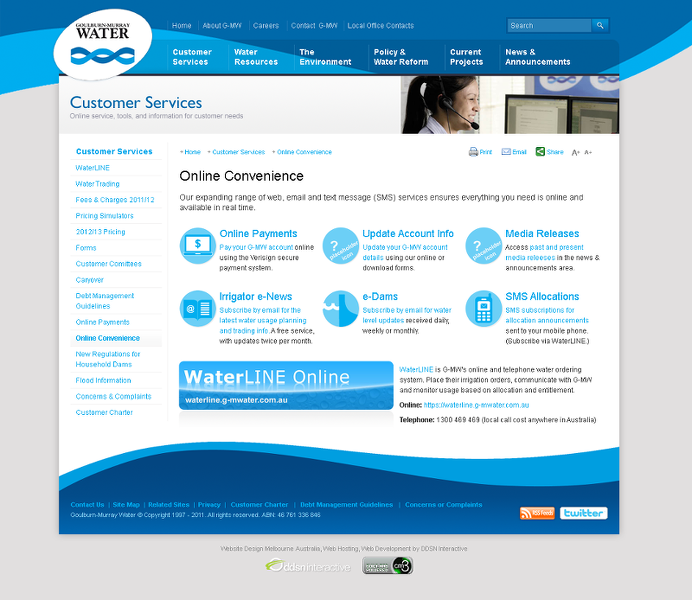 The Goulburn Murray Water customer service portal