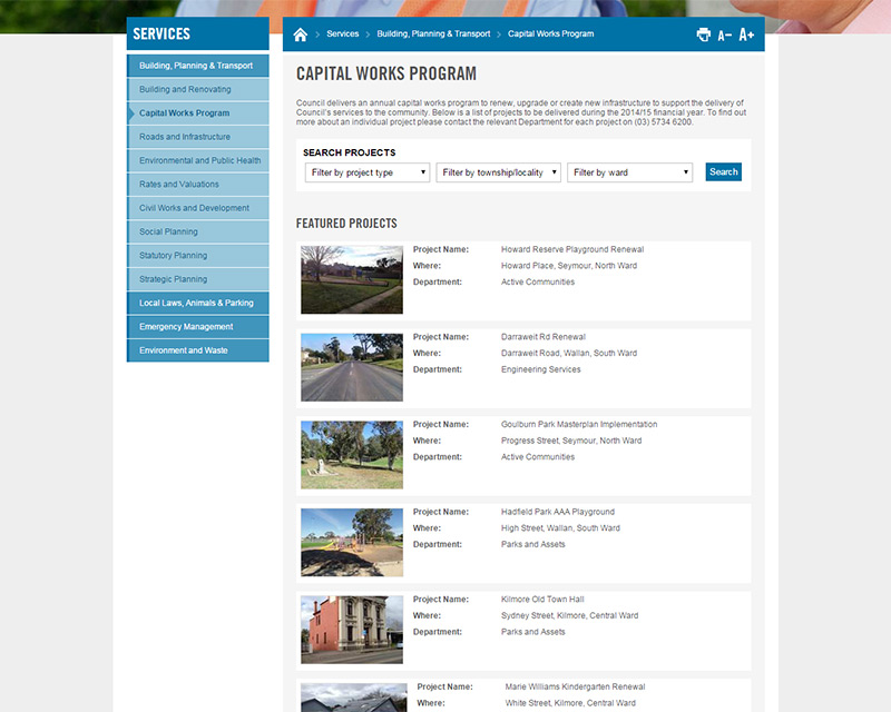 The Mitchell Shire Council capital works database publishes information about all works in the area.