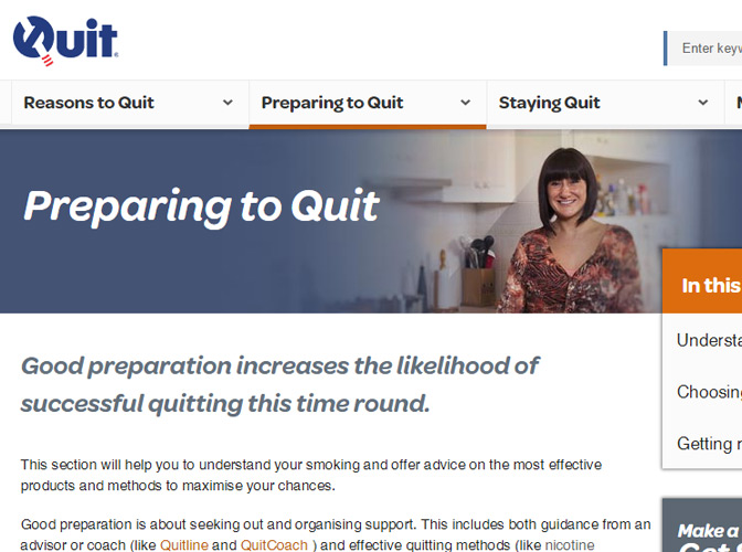 The Quit home page