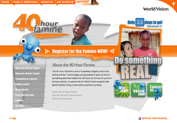 One of the many 40 Hour Famine websites created by DDSN