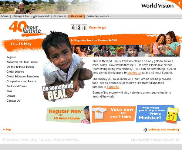 Another one of the many 40 Hour Famine websites created by DDSN