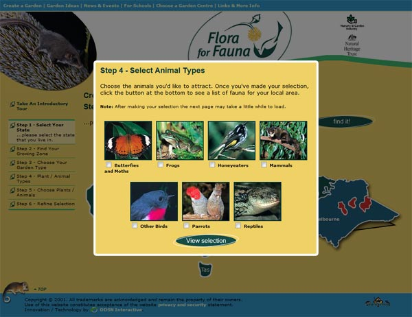 Flora for Fauna animal selector