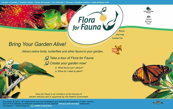 The Flora for Fauna home page
