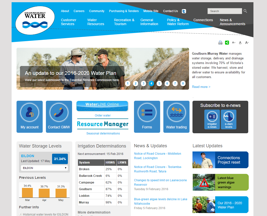 The Goulburn Murray Water home page.