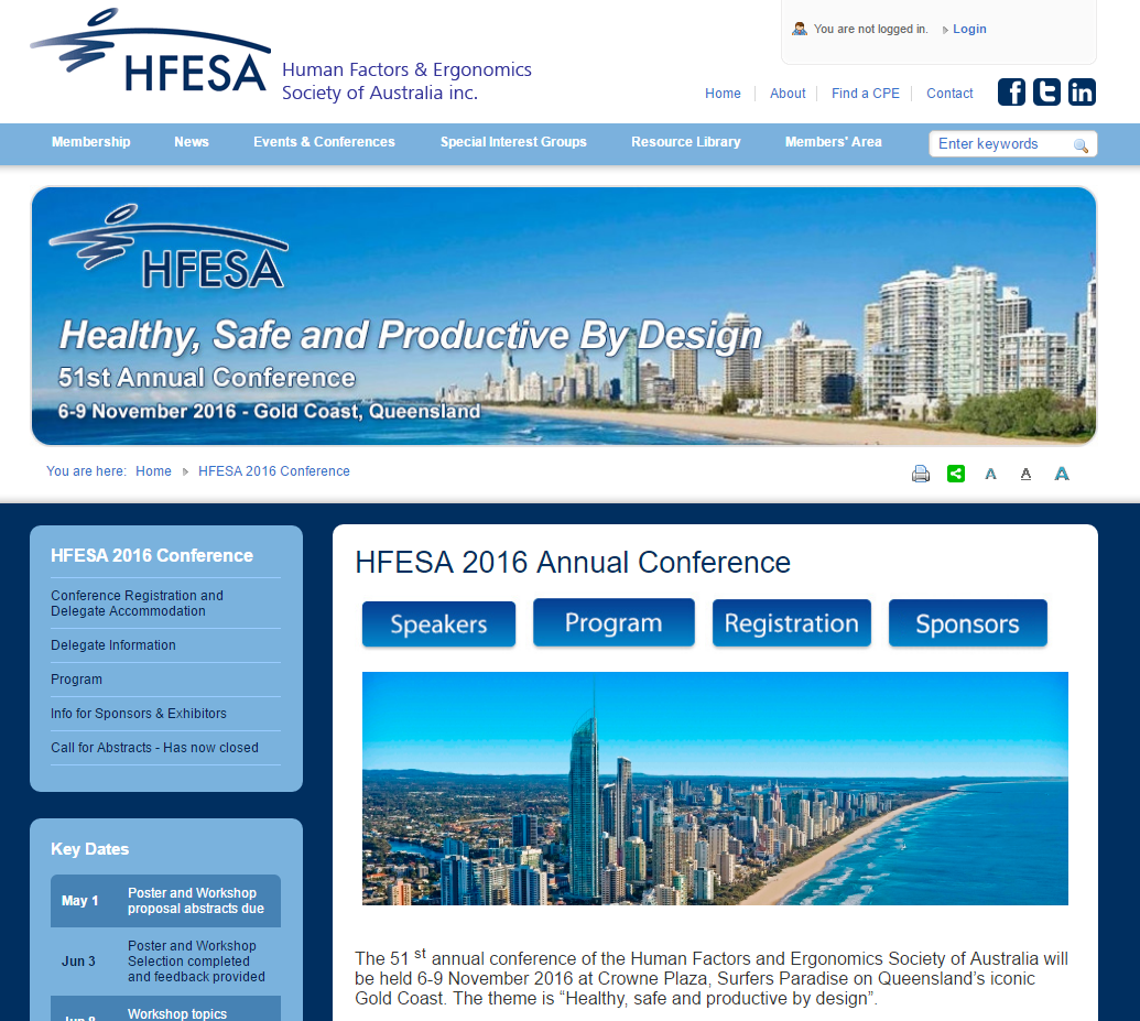 The HFESA conference microsite