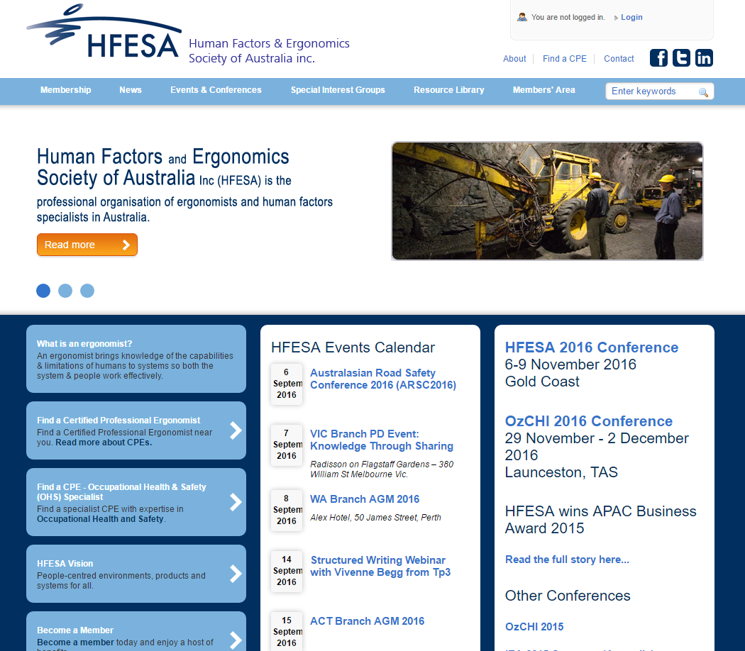 The HFESA home page.