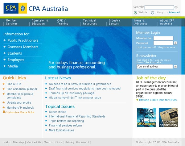 The CPA Australia home page, the result of an extensive UCD process