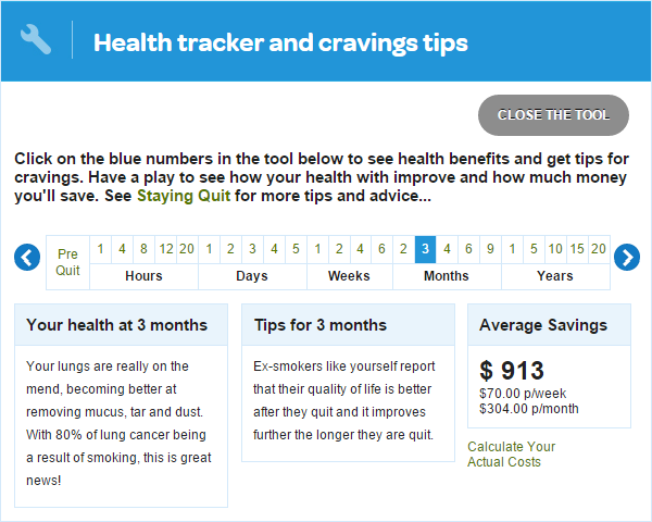 The health and cravings tracker tool