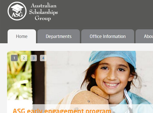 Screenshot ofAustralian Scholarships Group Intranet