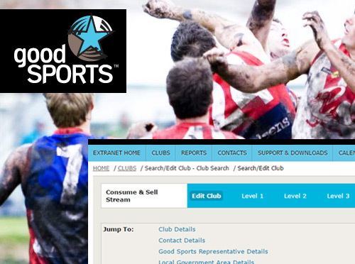Screenshot ofGood Sports Extranet