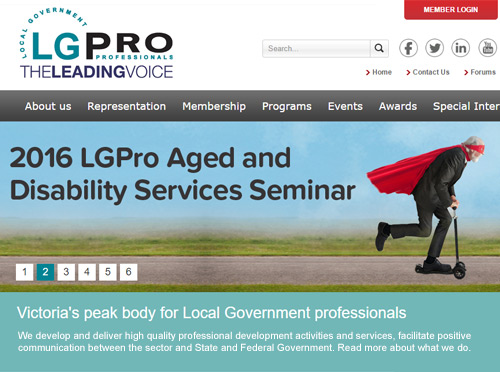 Screenshot ofLGPro Member Communcations Website
