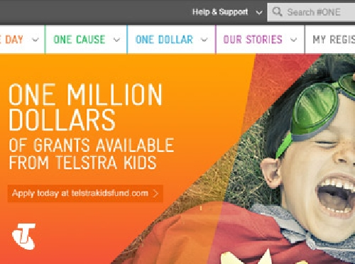 Screenshot ofTelstra #ONE Volunteering Portal