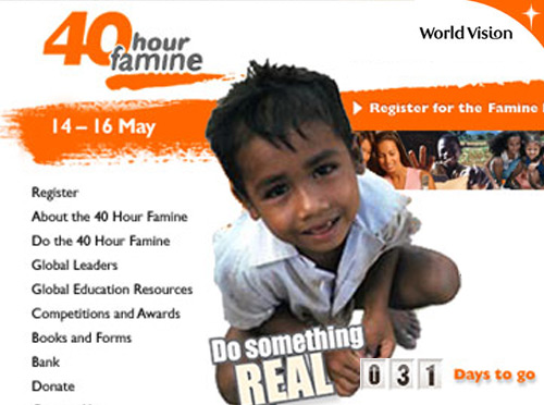 Screenshot ofWorld Vision Websites