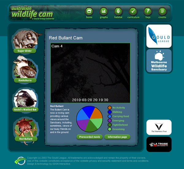 Footage from revolutionary infra red web cams is streamed directly to the website from the Melbourne Sanctuary