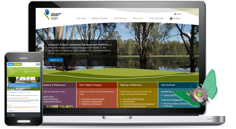 Laptop and smartphone screens displaying the GBCMA and Flood Victoria websites